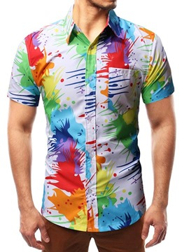 Ericdress Color Block Print Men's Casual Shirt