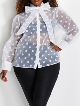 Ericdress Lantern Sleeve See-Through Polka Dots Women's Plus Size Blouse