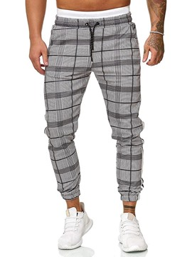 Ericdress Harem Plaid Mid Waist Lace-Up Men's Casual Pants