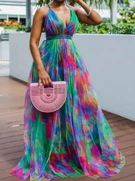 Ericdress Print V-Neck Floor-Length High Waist Color Block Women's Dress
