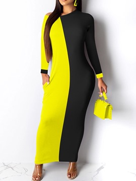 Ericdress Patchwork Long Sleeve Ankle-Length Mid Waist Color Block Women's Dress