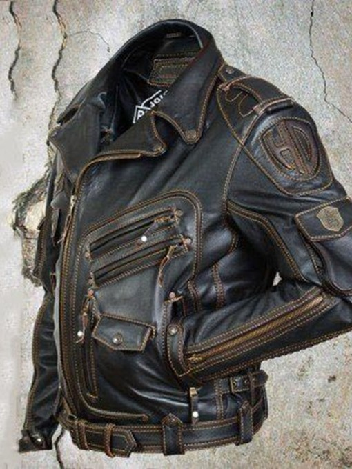 Ericdress Standard Lapel Zipper Pocket Leather Jacket