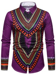 Ericdress Ethnic Lapel Geometric Single-Breasted Mens Slim Shirt