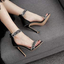 Ericdress Open Toe Zipper Stiletto Heel Casual Sandals