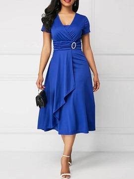 Ericdress Mid-Calf Short Sleeve Pleated Pullover High Waist Dress