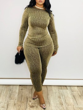 Ericdress Mid-Calf Pants Print Casual Pullover Women's Two Piece Sets