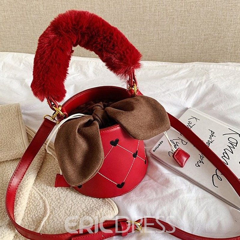 Ericdress PU Thread Heart Shaped Barrel-Shaped Casual Tote Bags
