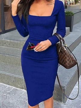 Ericdress Knee-Length Long Sleeve Square Neck Sexy Pullover Dress