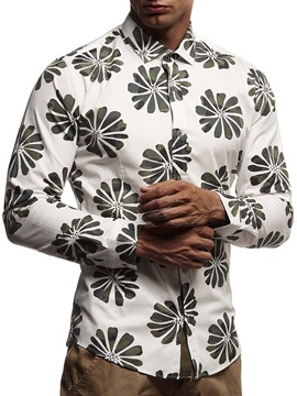 Ericdress Print Floral Lapel Single-Breasted Men's Fall Shirt