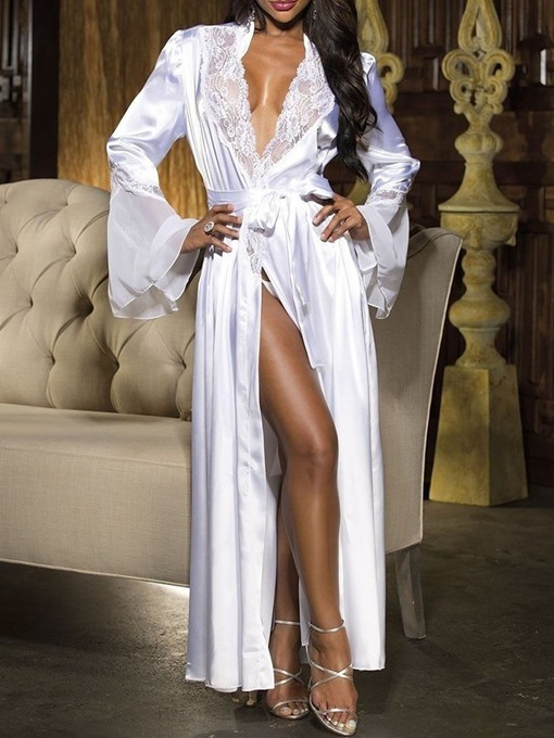 Ericdress Lace-Up Lace Single Polyester Women's Long Sleeve Night-Robes