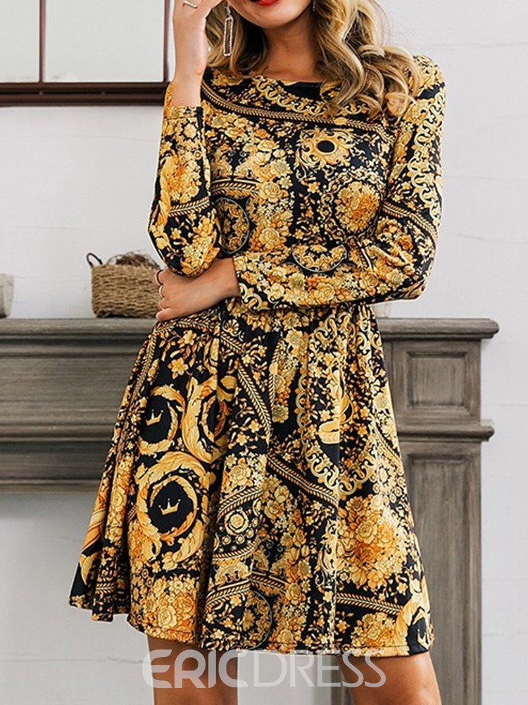 Ericdress Round Neck Print Long Sleeve Regular High Waist Dress