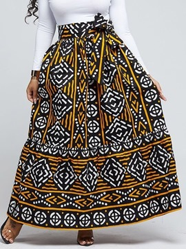 Ericdress Geometric Floor-Length A-Line Mid Waist Casual Skirt