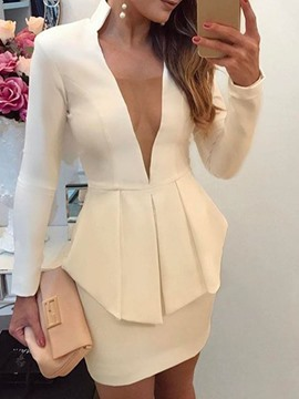 Ericdress Shirt Plain Western Bodycon Women's Two Piece Sets