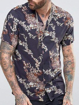 Ericdress Lapel Print Casual Summer Single-Breasted Men's Shirt