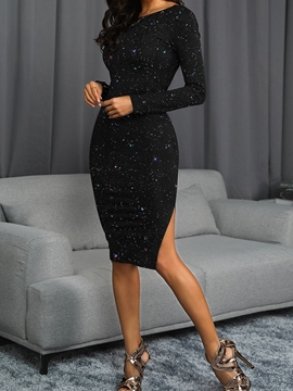 Ericdress Sequins Long Sleeve Knee-Length Women's Pullover Dress