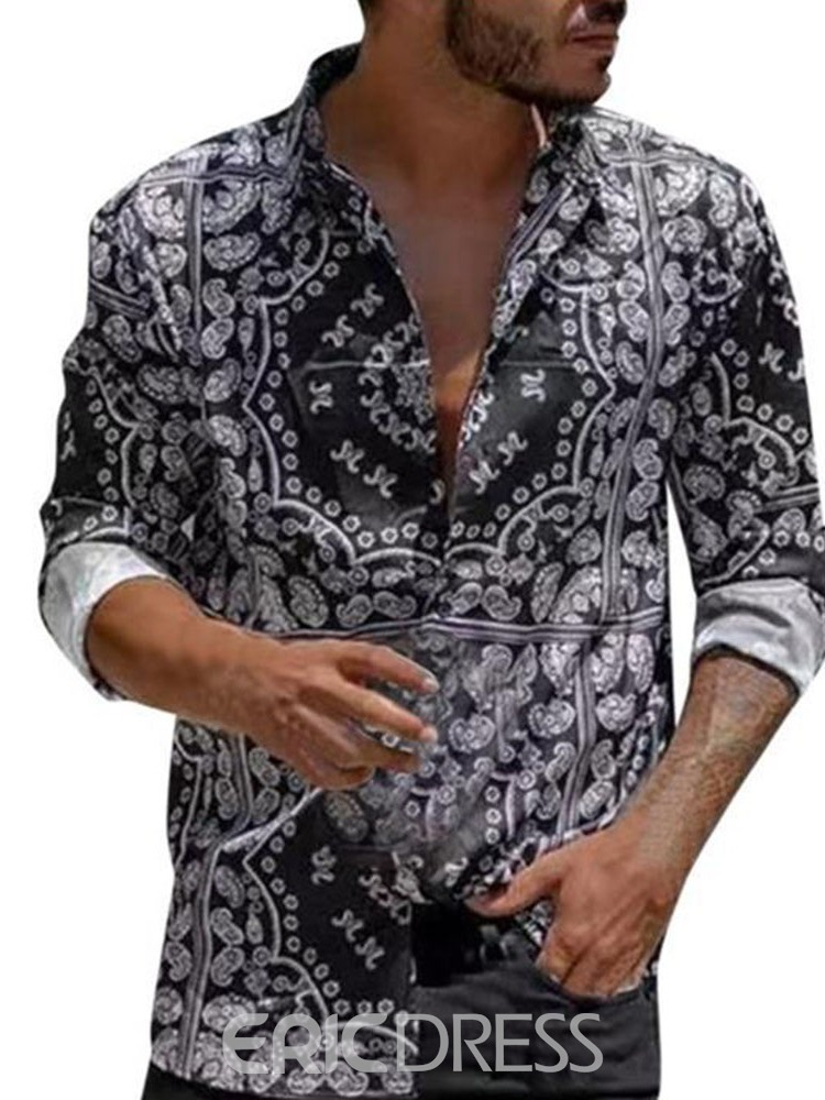Ericdress Floral Print Casual Spring Single-Breasted Men's Shirt