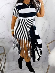 Ericdress Asymmetric Mid-Calf Round Neck Stripe Womens Casual Dress фото
