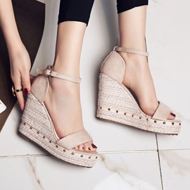 Ericdress Open Toe Wedge Heel Heel Covering Casual Sandals