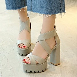 Ericdress Chunky Heel Zipper Open Toe Plain Sandals