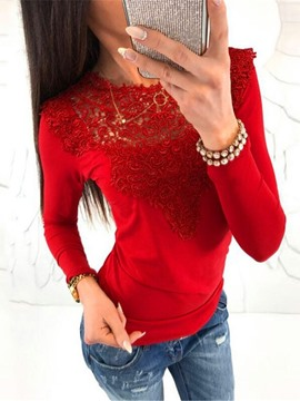 Ericdress Plain Round Neck Long Sleeve Women's Slim Casual T-Shirt