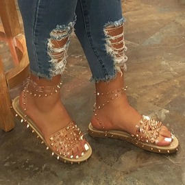 Ericdress Ankle Strap Open Toe Flat With Rivet Sandals