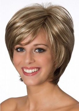 Ericdress Women's Short Classic Bob Hairstyle Side Part Straight Synthetic Hair Capless Wigs With Bangs 8Inch