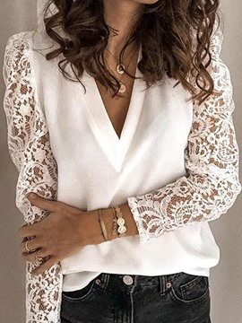 Ericdress V-Neck Patchwork Long Sleeve Standard Women's Blouse