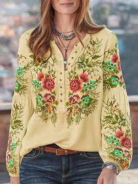 Ericdress Print Plant Lantern Sleeve Standard Long Sleeve Women's Blouse