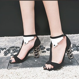 Ericdress Chunky T-Shaped Buckle Heel Covering Patchwork Sandals