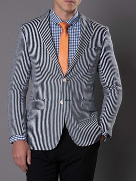 Ericdress Notched Lapel Single-Breasted Stripe Men's Leisure Blazers