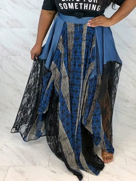 Ericdress Floor-Length Patchwork Asymmetrical Travel Look Mid Waist Skirt