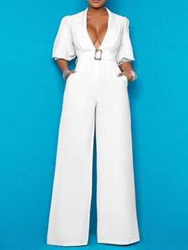Ericdress Plain Office Lady Full Length Wide Legs High Waist Women's Jumpsuit