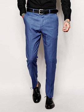 Ericdress Plain Full Length Straight Mid Waist Men's Suit Trousers