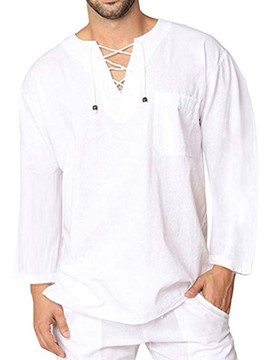 Ericdress Lace-Up Round Neck Plain Loose Men's Shirt
