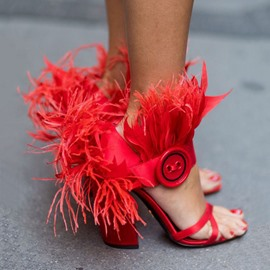 Ericdress Heel Covering Chunky Heel Buckle Feather Sandals