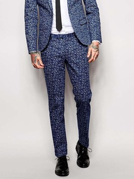 Ericdress Floral Print Slim Mid Waist Men's Suit Trousers