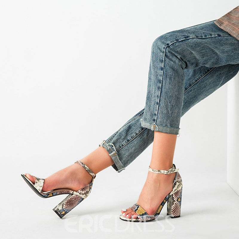 Ericdress Covering Line-Style Buckle Chunky Heel Thread Sandals