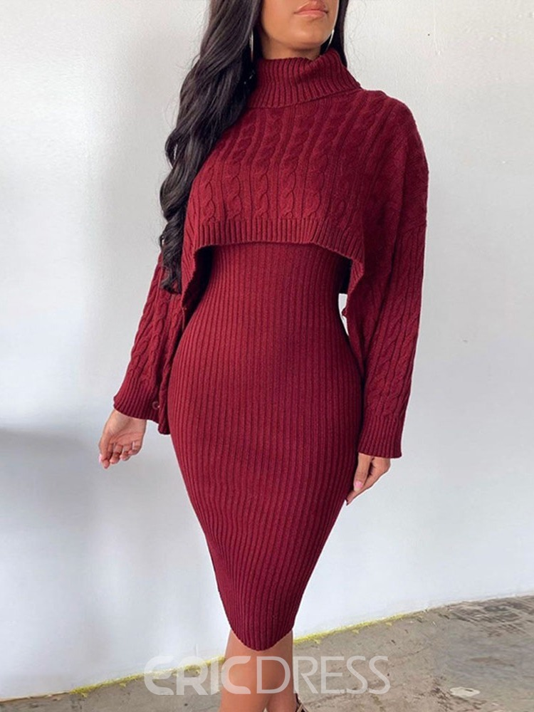 Ericdress Plain Office Lady Sweater Sheath Pullover Women's Two Piece Sets