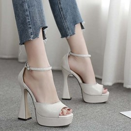 Ericdress Line-Style Buckle Chunky Heel Plain Sandals