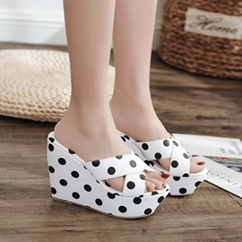 Ericdress Slip-On Print Wedge Heel Rubber Slippers