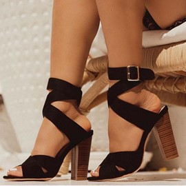 Ericdress Buckle Chunky Heel Peep Toe Thread Sandals