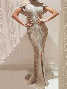Ericdress Short Sleeve Floor-Length Rhinestone All-Season Mermaid Dress