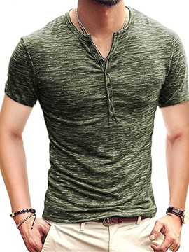 Ericdress Round Neck Casual Plain Short Sleeve Men's Slim T-shirt