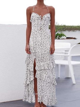 Ericdress Sleeveless Print Floor-Length Floral Halter Dress
