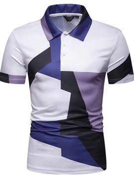 Ericdress Print Casual Lapel Polo Men's Shirt