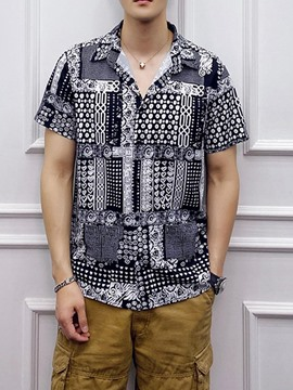 Ericdress Print Lapel Men's Casual Loose Shirt