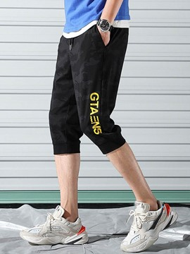 Ericdress Loose Print Letter Mid Waist Lace-Up Men's Shorts