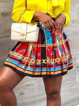 Ericdress Print Mini Skirt Color Block Vintage Skirt