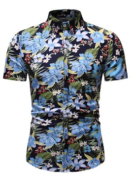 Ericdress Floral Print Lapel Men's Single-Breasted Shirt