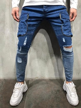 Ericdress Hole Pencil Pants Casual Mid Waist Men's Jeans